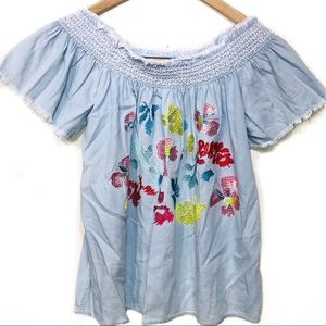 Grand & Greene blue embroidered peasant top medium
